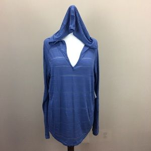 Columbia Heather Periwinkle LS Hooded Shirt